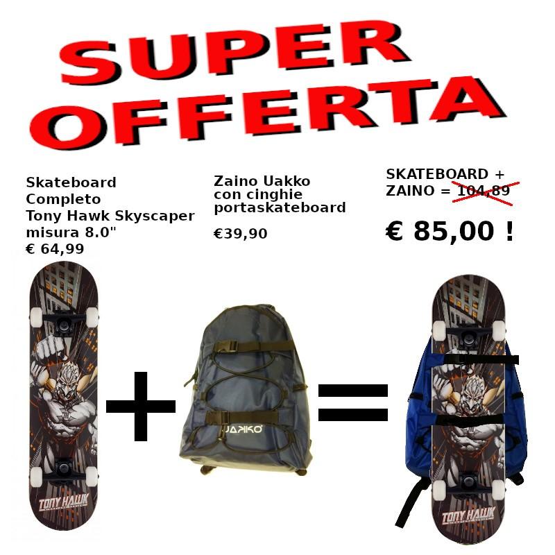"""OFFERTA Skateboard Tony Hawk 8.0"""" + Zaino Uakko portaskate BLUE"""
